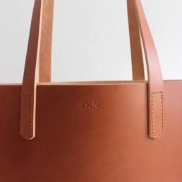Leather tote bag SJAELV
